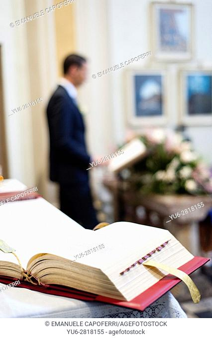 The Bible on the altar of the church