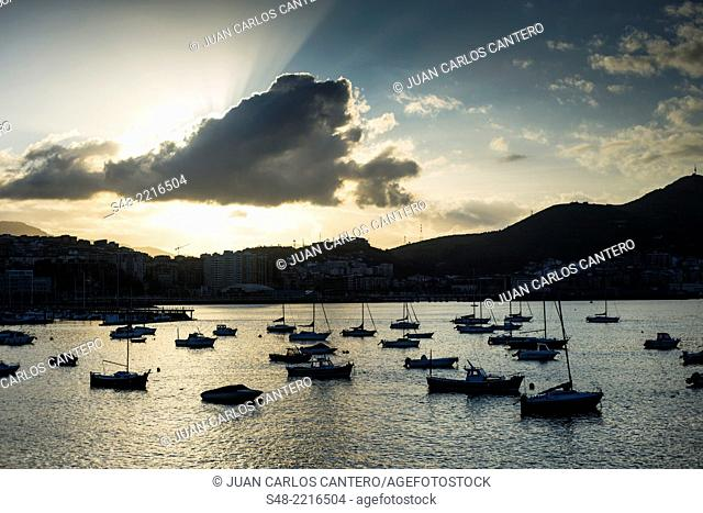 Waterfront promenade of Las Arenas. Getxo. Vizcaya. Basque Country. Spain. Europe