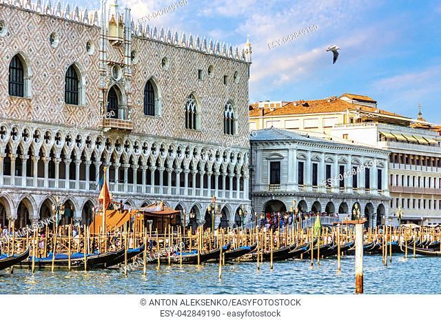 Doge's Palace and gondolas pier near Piazza San Marco, Venice, Italy