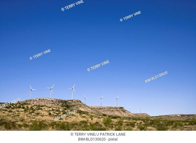 Wind turbines in arid landscape, West Texas, Texas, United States
