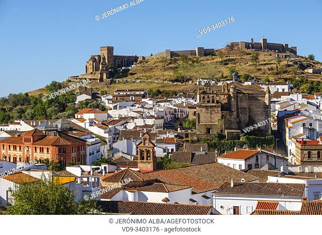 Panoramic view of Aracena. Sierra de Aracena and Picos de Aroche Natural Park. Huelva province. Southern Andalusia, Spain. Europe