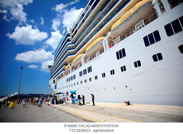 Luxurious cruise ships in Corfu, Greece