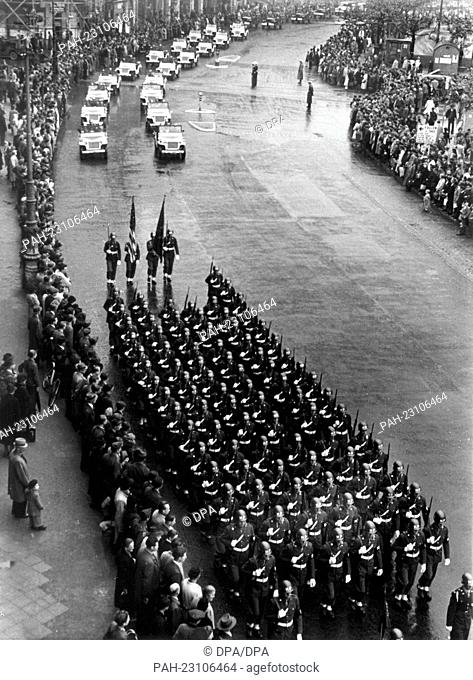 US military parade on occasion of the 'V-E-Day) (Victory in Europe Day) on 8th May 1946 in Frankfurt on the Main. 8th May stands for the German capitulation and...