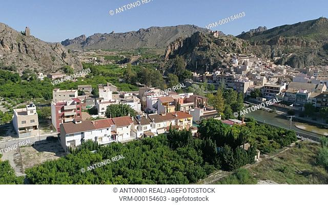 Vista con dron. Rio Segura. Blanca. Valle de Ricote. Murcia. España