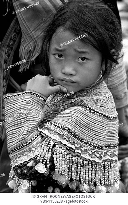 Flower Hmong Hill Tribe Child, Bac Ha Market, Vietnam