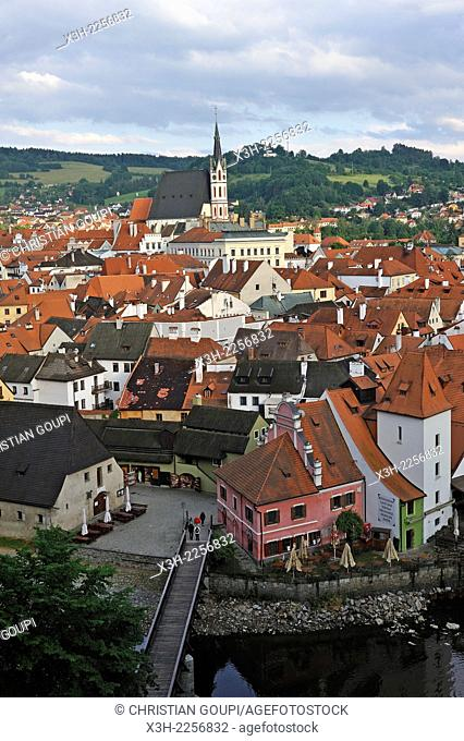 Old Town of Cesky Krumlov and Vltava River viewed from the Castle, South Bohemia, Czech Republic, Europe