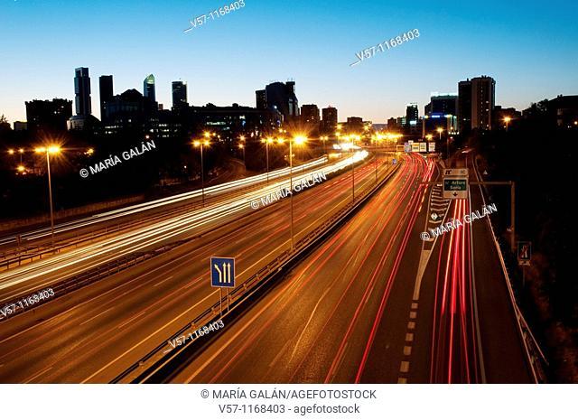 M-30 motorway, night view. Madrid, Spain
