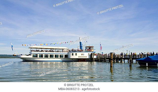 paddle steamer Diessen in the jetty for steamer in Utting am Ammersee / Lake Ammer