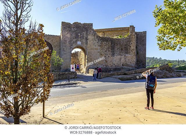 Peratallada, Catalonia, Spain - October 2016: Entrance to the walled enclosure of the historic center of Peratallada