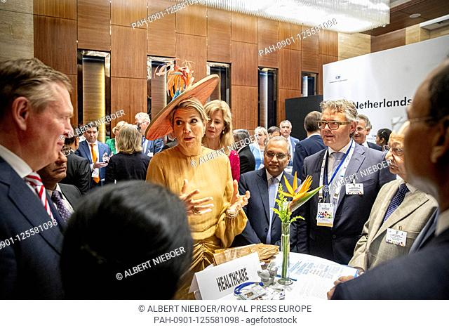 Queen Maxima of The Netherlands at Hotel JW Marriott in Delhi, on October 15, 2019, for the Openingssession Tech Summit at the 2nd of the 5 days State visit to...