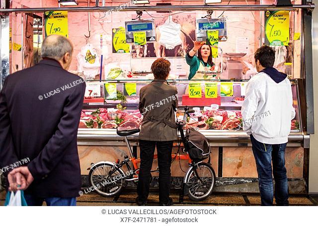 Butcher shop, in La Boqueria market, Barcelona. Catalonia, Spain