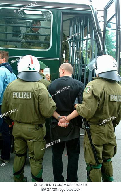 DEU, Germany : Anti riot Police units, training at a realistic scenario of a demonstration with violent demonstrators