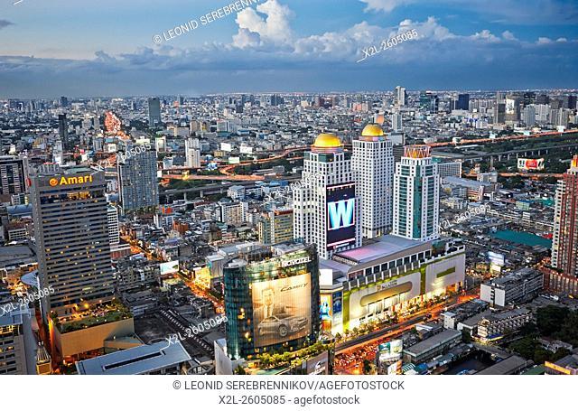Elevated city view at dusk. Bangkok, Thailand
