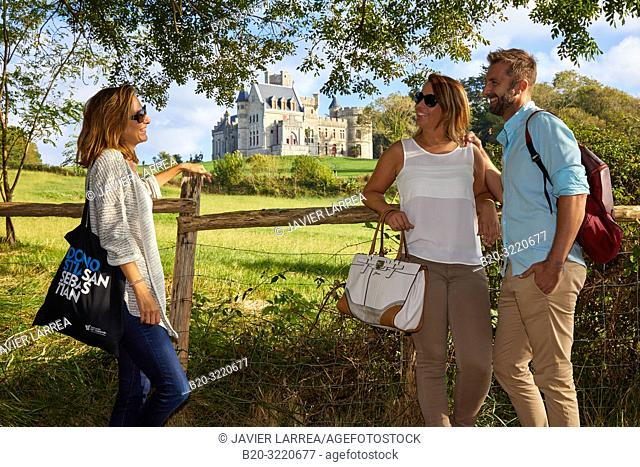 Guide with tourists, Castle Chateau D'Abbadia, Domaine D'Abbadia, Hendaye, Aquitaine, Pyrenees Atlantiques, France, Europe