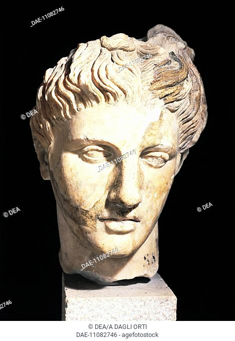Roman civilization, 3rd century A.D. Head of Apollo Liceo. Roman copy of an original by the Praxitelean School.  Aquileia