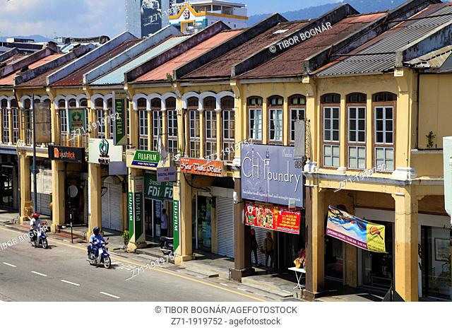 Malaysia, Penang, Georgetown, typical shophouses, street scene