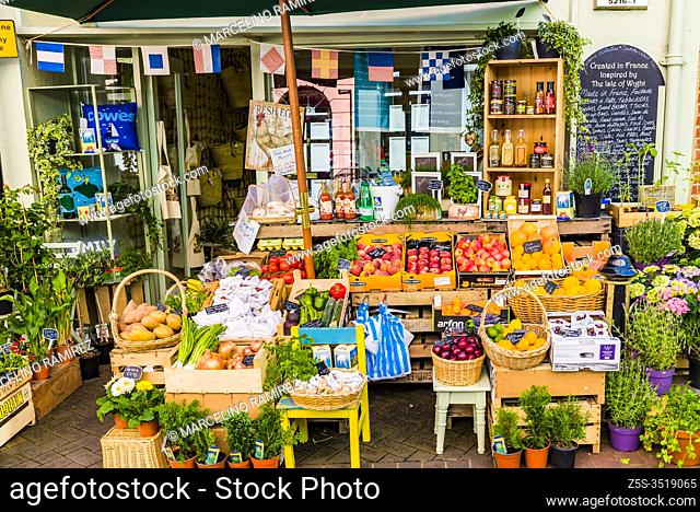greengrocer with local products for sale. Cowes, Isle of Wight, England, United Kingdom, Europe