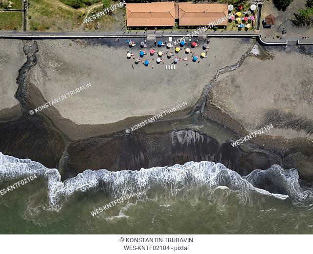 Indonesia, Bali, Aerial view of Yeh Gangga beach