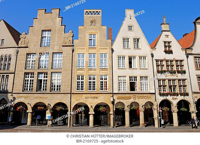 Gabled town houses on Prinzipalmarkt square, Muenster, Muensterland, North Rhine-Westphalia, Germany, Europe, PublicGround