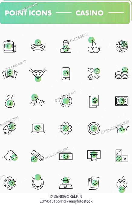 Set of 30 line icons. Casino collection. Vector illustration for money game