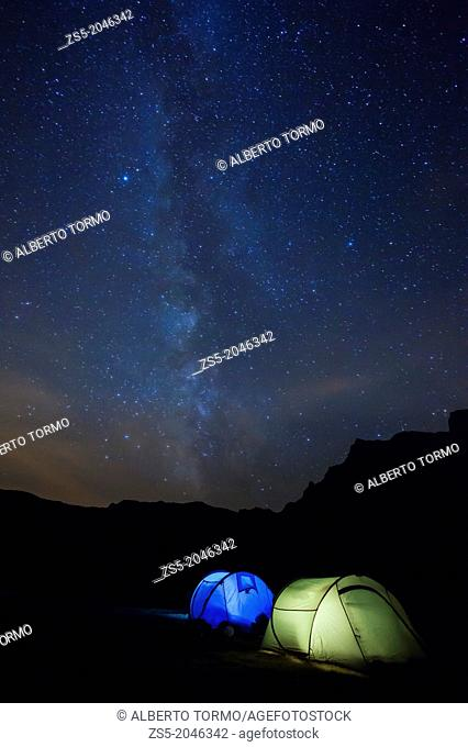Tents at night with milky way from Ayous lake in Pyrénées-Atlantiques, France, Europe