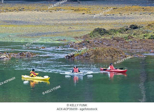 Kayakers explore the Burnaby Narrows, Gwaii Haanas National park, Haida Gwaii, British Columbia, Canada