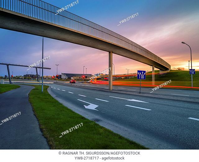 Footbridge over road named Hringbraut, Reykjavik, Iceland