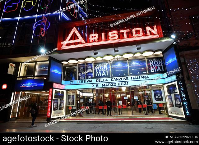 A view of the outside of the Ariston theater where it will take place the 71st Sanremo Music Festival without people , Sanremo, ITALY-01-03-2021