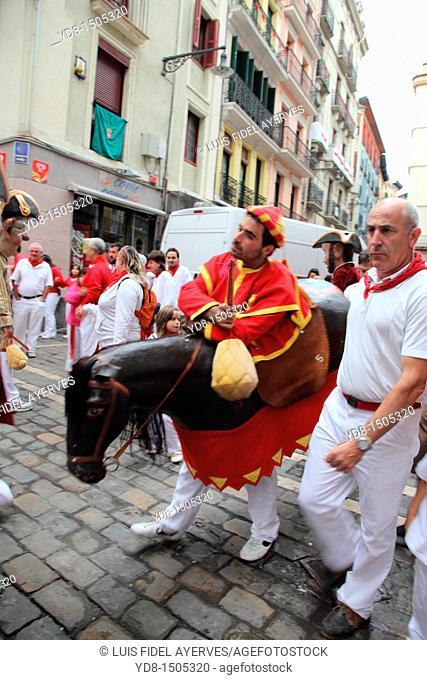 Youth in costume in celebration of the Feria de San Fermin, Pamplona, Spain, Europe
