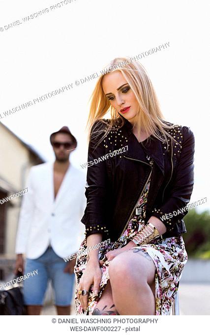 Portrait of fashionable blond woman