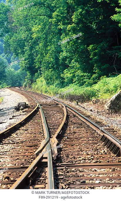 CSX rail line siding turnout in New River George. Fayette County. West Virginia, USA