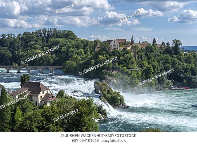 Rhine Falls with Laufen Castle, Neuhausen am Rheinfall, Canton Schaffhausen, Switzerland, Europe
