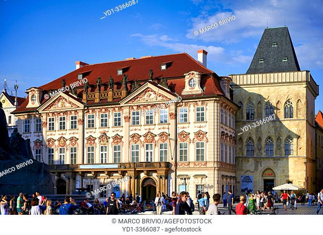 Prague Czech Republic. Kinsky Palace in Old Town Square