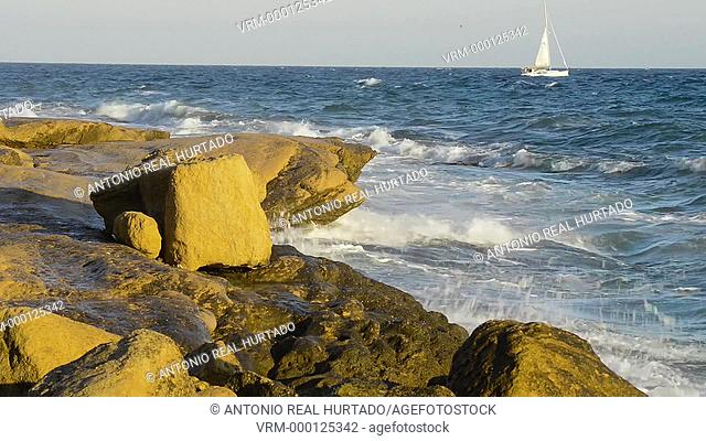 Sailboat. Cabo de Huertas. Alicante province. Espain