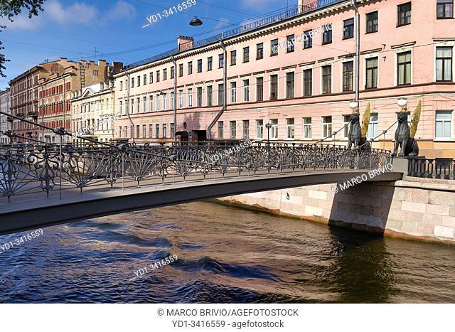 St. Petersburg Russia. Griffins on Bank Bridge