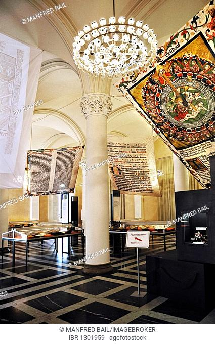 Bavarian State Library, first floor, exhibition in Prince's Hall, When letters became mobile – transition of media in the 15th century, Munich, Bavaria, Germany