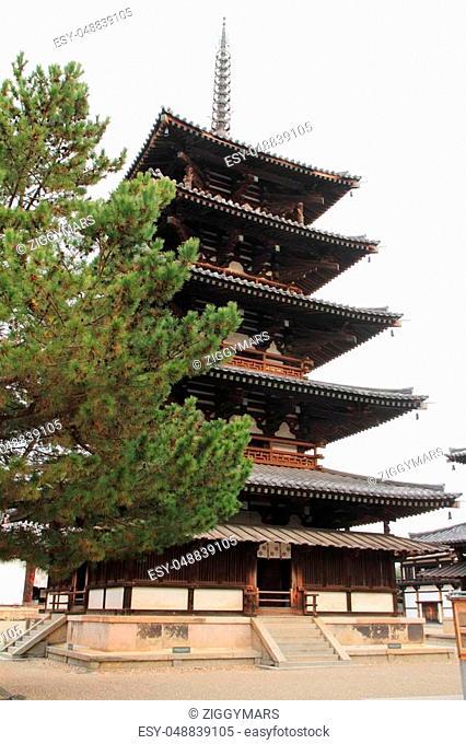 five-story pagoda of Horyu ji in Nara, Japan