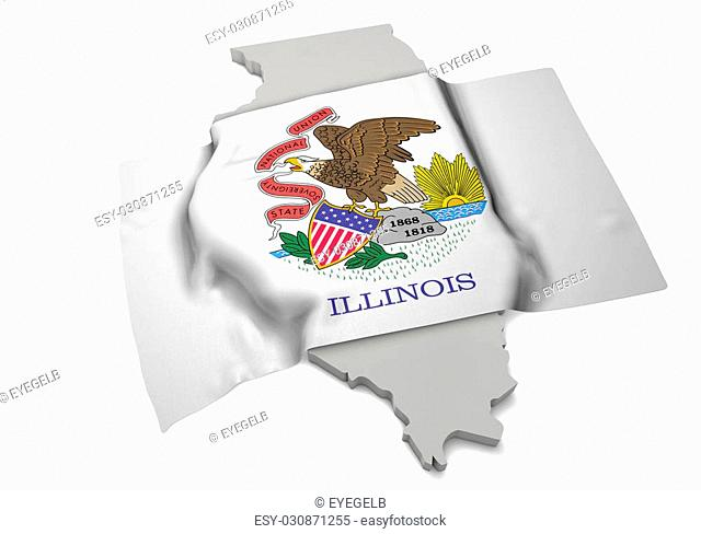 A realistic flag covering the shape of Illinois