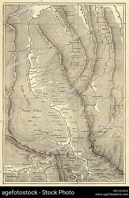 Map of the Peruvian district of Acopía, province of Acomayo, Department of Cusco. Andes mountain range Peru, South America