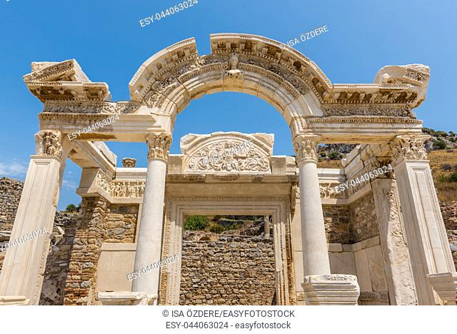 Detailed view of Hadrian Temple at Ephesus historical ancient city, in Selcuk,Izmir,Turkey