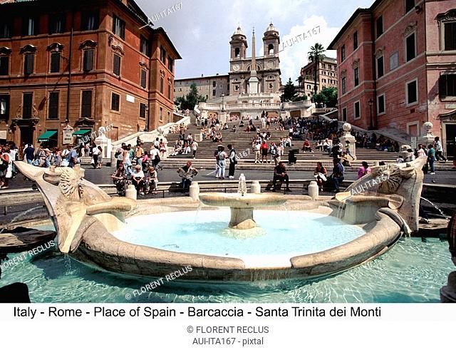 Italy - Rome - Place of Spain - Barcaccia - Santa Trinita dei Monti