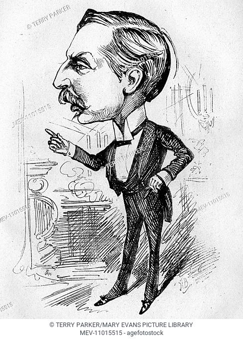 Caricature of William Hunter Kendal (1843-1917), English actor and theatre manager