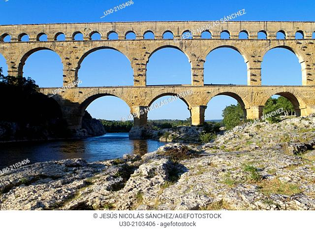 Roman aqueduct of Pont du Gard, listed as World Heritage by UNESCO, appering in 5 euros notes. Remoulins, Gard department and Languedoc-Roussillon region