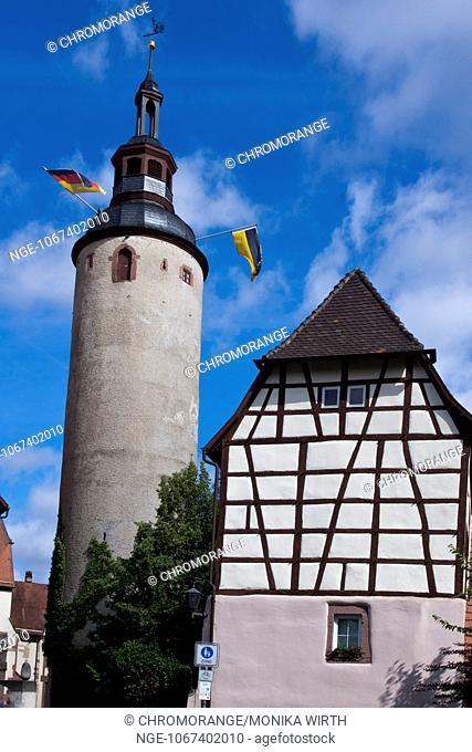 Tuermersturm, tower, city s landmark, Tauberbischofsheim, Main-Tauber-Kreis, Baden-Wuerttemberg, Germany, Europe