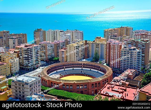 Malaga, Spain - March 4, 2020: View of the city of Malaga and the La Malagueta Bullring