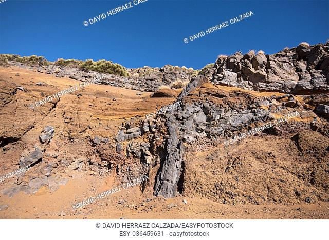 Geological detail of lava walls in Teide national park, Tenerife, Canary island, Spain