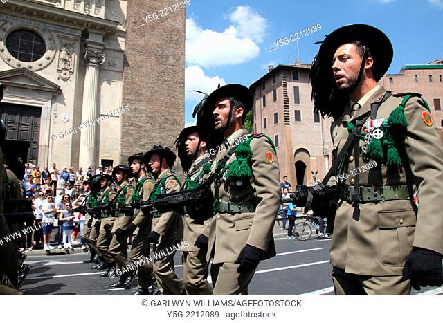 Rome, Italy 2nd June 2014 Bersaglieri battalion marching at the 2nd June Republic Day parade in rome italy