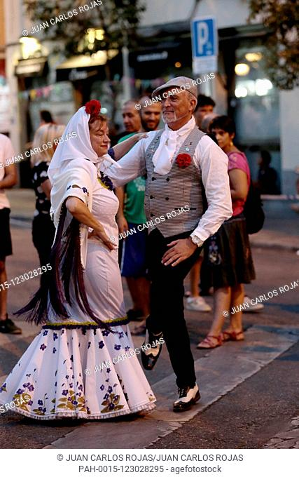 Madrid Spain; 08/06/2019..Summer parties Madrid, Spain begin with that of San Cayetano in the Lavapies neighborhood, people take to the streets, drink