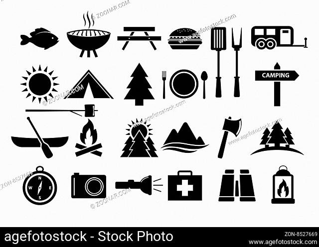 Camping and Camp Food Vector Icon Set. Vector, Eps 10