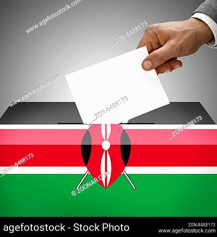 Ballot box painted into national flag colors - Kenya